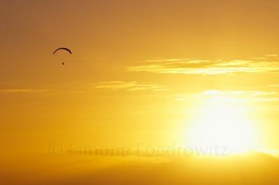 Paragleiter vor Sonnenuntergang
