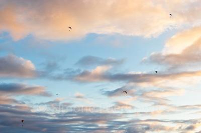 Paragleiter im wolkigen Himmel
