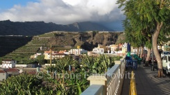 Die Stadt Tazacorte mit Bananenfeldern am Hang