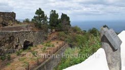 Eine weiße Mauer, Felder und Bäume an der Küste