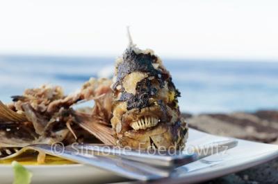 Fischgräten mit Kopf und Zähnen