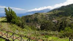 Meerblick über grün bewachsene Berge