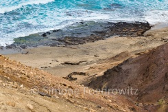 sandige und felsige Küstenlandschaft