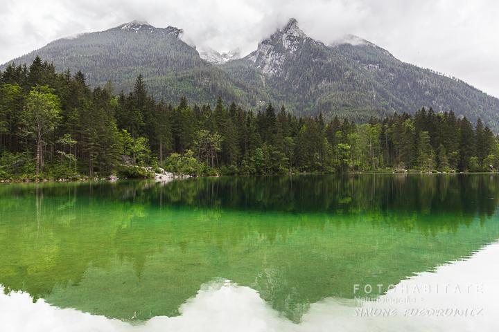 Berge und Bäume spiegeln sich im grün-weißen Wasser