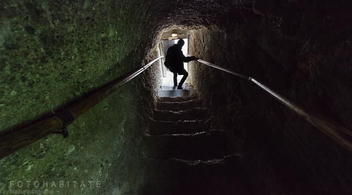 Mann steigt Treppe im Höhlengang hinab