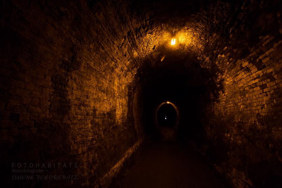 orange beleuchteter Tunnel mit Ziegel verkleidet
