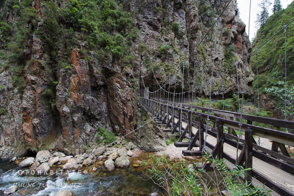 Hängebrücke über Fluss in Schlucht