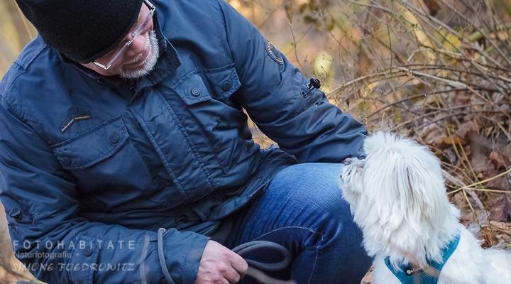 Mann und weisser kleiner Hund schauen sich an